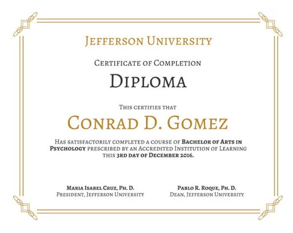 Diploma Template Sample